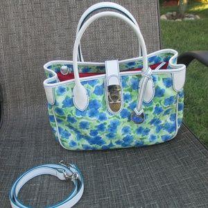 Dooney & Bourke Blue Petunia Floral Print satchel